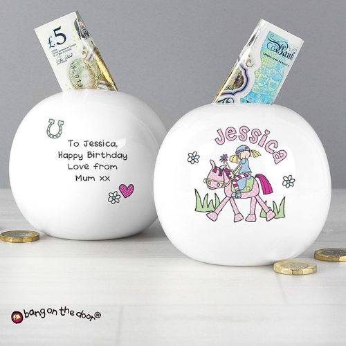 Personalised Bang on the Door Pony Girl Money Box